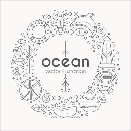 seafaring: Vector illustration with outlined nautical signs and marine animals forming a ring. Black and white color palette. Minimalistic design layout for business Illustration