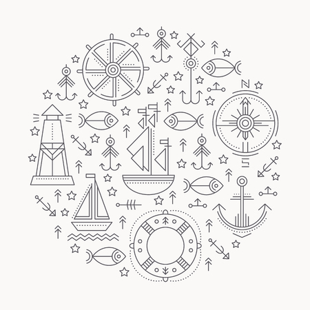 Vector illustration with outlined seafaring and nautical signs forming a circle. Black and white color palette. Minimalistic design layout for business Illustration