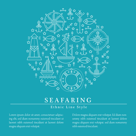 seafaring: Vector illustration with outlined seafaring and nautical signs forming a circle. Minimalistic design layout for business