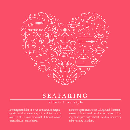 cachalot: Vector illustration with outlined signs of marine animals forming a heart. Minimalistic design layout for business