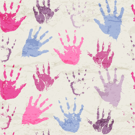seamless pattern with human palm prints. Cute design drawn with watercolors. Happy colorful texture for consumer industry design
