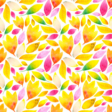 Watercolor floral background with autumn leaves on a white. Bright and shiny seamless pattern for consumer industry design. Raster illustration
