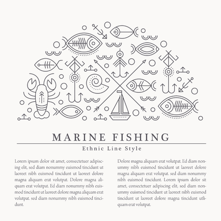 seafaring: illustration with outlined nautical and fishing signs forming a half-circle. Black and white color palette. Minimalistic design layout for business Illustration