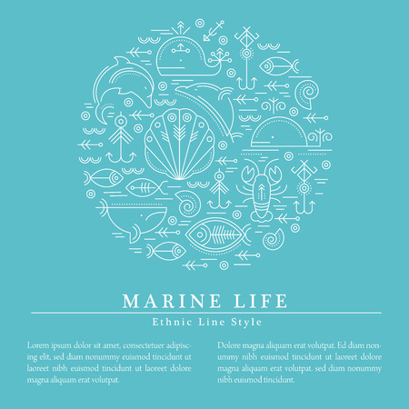 illustration with outlined signs of marine animals forming a circle. Minimalistic design layout for business