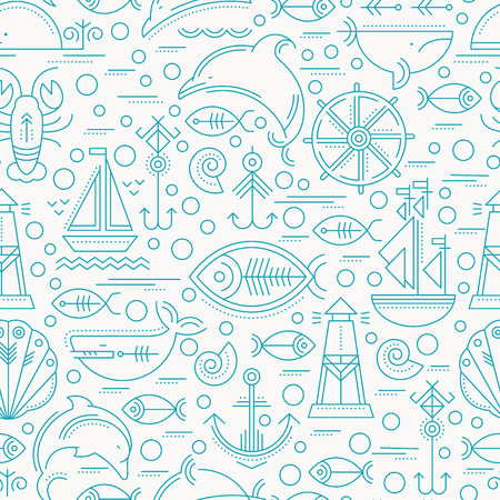 seamless pattern with outlined seafaring and nautical signs. Blue and white color palette. Minimalistic design layout for business