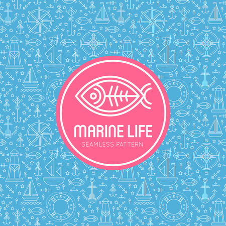 seafaring: seamless pattern with outlined seafaring and nautical signs. Blue and white color palette, pink round badge with fish. Minimalistic design for business