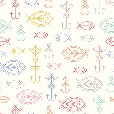 fishhook: seamless pattern with outlined fishing signs - fish and fishhook Minimalistic design for business