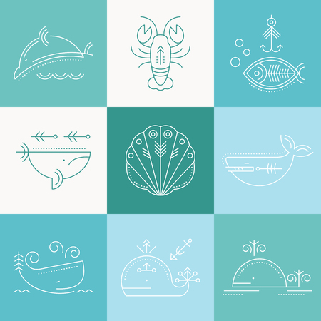 and marine life: Marine life icon set. Collection of creative line style design elements. Minimalistic outlined sea animals icons on a colorful background of sea green tints