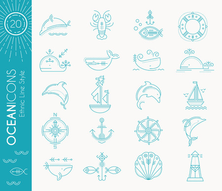 cachalot: Nautical icon set. Collection of creative line style design elements. Minimalistic outlined marine animals and objects in ethnic style. Monochrome, bright blue on a white