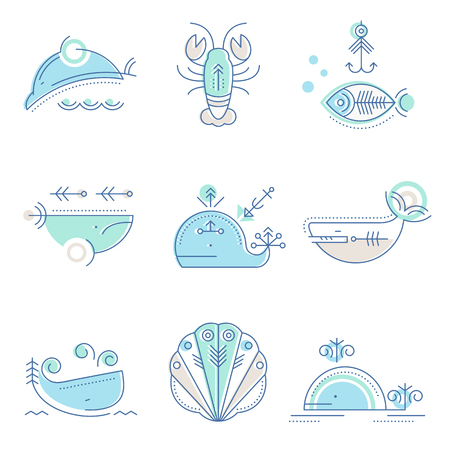 and marine life: Marine life icon set. Collection of creative line style design elements. Minimalistic stroked sea animals icons. Illustration
