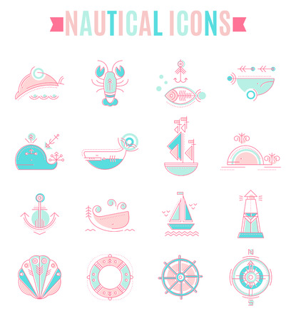 pink dolphin: Nautical icon set. Collection of creative line style design elements. Minimalistic outlined marine animals and objects in ethnic style. Colorful sea green and pink tints on a white