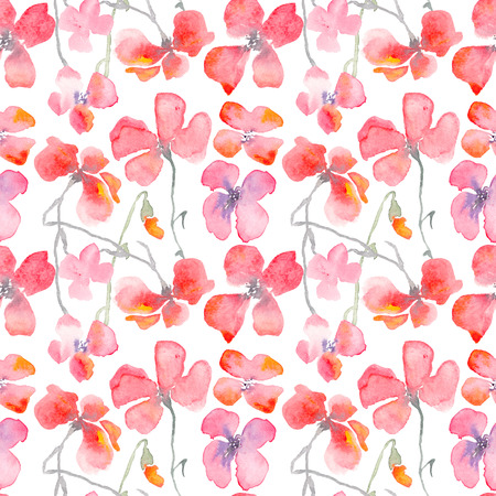 fragile industry: Watercolor floral background with red poppies. Romantic fragile flowers. Hand drawn seamless pattern for consumer industry design. Raster illustration
