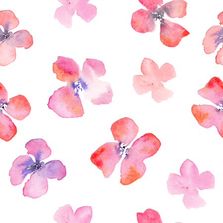 fragile industry: Watercolor floral background with red and pink poppies. Romantic fragile flowers. Hand drawn seamless sparse pattern for consumer industry design. Raster illustration