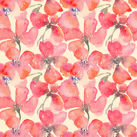 fragile industry: Watercolor floral background with red poppies. Vintage fragile flowers . Hand drawn seamless pattern for consumer industry design. Raster illustration