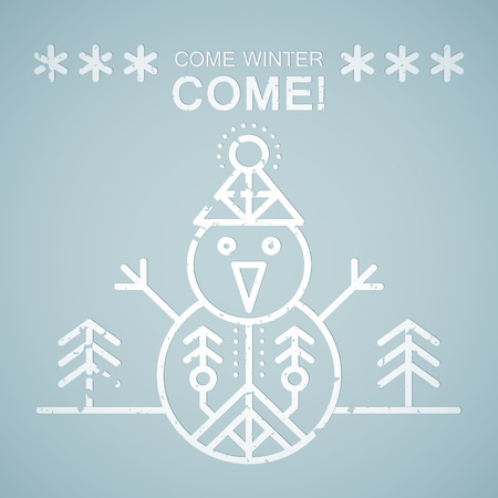 come: Line style emblem with stylized snowman. Minimalistic outlined Come Winter! greeting card template. Pastel blue tints