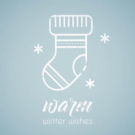 winter stylized: Line style emblem with stylized Christmas stocking. Minimalistic outlined Warm Winter Wishes greeting card template. Pastel blue tints Illustration