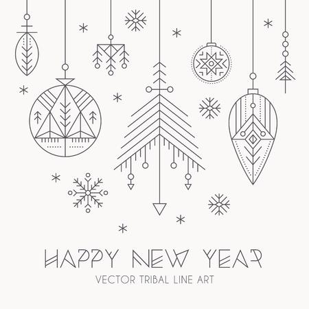 Neujahrsgrußkarte Vorlage mit hängenden Dekorationen und Schneeflocken. Kreative Stammes-Linie Stil Design-Elemente. Minimalistisch skizzierte Winterferien Grafiken. Einfarbig