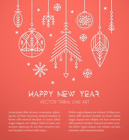 New Year greeting card template with hanging decorations and snowflakes. Creative tribal line style design elements. Minimalistic outlined winter holidays graphics. Red and white