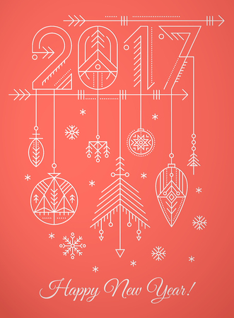 New Year greeting card template with geometric 2017 sign, hanging decorations and snowflakes. Creative tribal line style design layout. Minimalistic outlined winter holidays graphics. Red and white