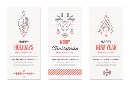Sammlung von Weihnachten und Neujahr Grußkartenvorlagen mit Urlaub Symbole (hängende Dekoration, Rentier, Weihnachtsbaum). Kreative Stammes-Linie Stil Design-Layout. Minimalistic schwarz und rot set