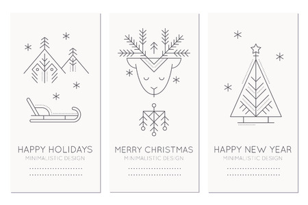 Collection of new year and christmas greeting card templates collection of new year and christmas greeting card templates with holiday symbols sledge raindeer m4hsunfo