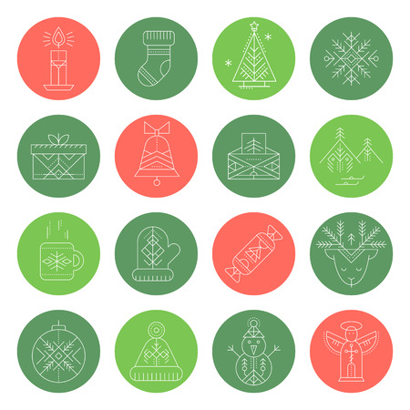 Christmas icon set. Collection of creative line style round badges. Minimalistic outlined winter holidays signs.