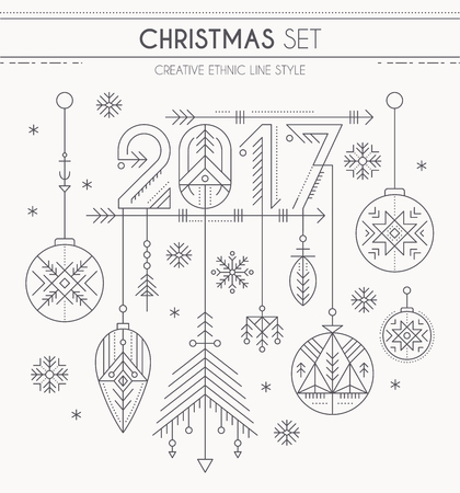 New Year set - hanging decorations, 2017 sign and snowflakes. Collection of creative line style design elements. Minimalistic outlined winter holidays graphics. Monochrome Illustration