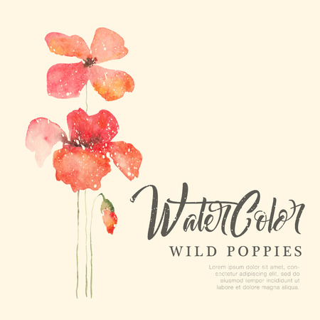Watercolor floral background with wild red poppies. Hand drawn card template with sample text. Romantic fragile flowers