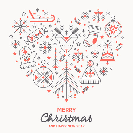 Christmas greeting card template with outlined signs forming a heart. Black and red color palette. Minimalistic design layout. Creative tribal line style background
