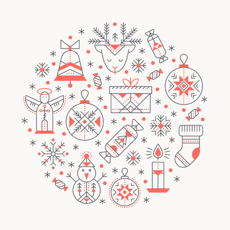 Christmas greeting card template with outlined signs forming a circle. Black and red color palette. Minimalistic design layout. Creative tribal line style background