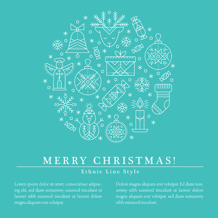 Christmas greeting card template with outlined signs forming a circle. Blue and white color palette. Minimalistic design layout. Creative tribal line style background