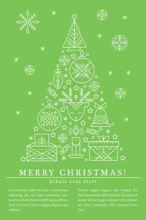 Christmas greeting card template with outlined signs forming a tree. White and green color palette. Minimalistic design layout. Creative tribal line style background Illustration