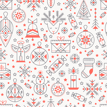 Christmas seamless pattern with outlined holiday and winter signs. Black and red color palette. Minimalistic design layout. Creative tribal line style background Illustration