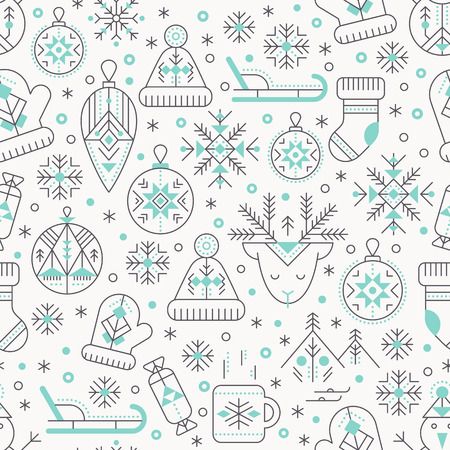 Winter seamless pattern with outlined seasonal signs. Black and pastel blue color palette. Minimalistic design layout. Creative tribal line style background