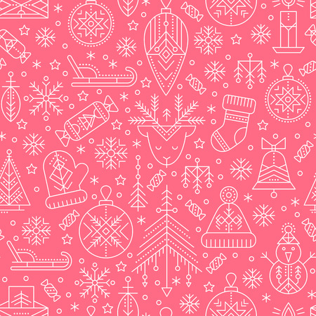 Christmas seamless pattern with outlined holiday and winter signs. White and pink color palette. Minimalistic design layout. Creative tribal line style background