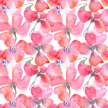 Watercolor floral background with red and pink poppies. Romantic fragile flowers. Hand drawn seamless pattern for consumer industry design. Raster illustration