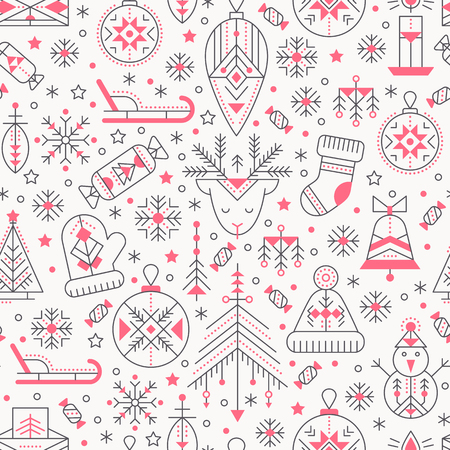 Christmas seamless pattern with outlined holiday and winter signs. Black and pink color palette. Minimalistic design layout. Creative tribal line style background Illustration
