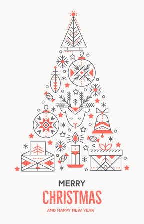 Christmas greeting card template with outlined signs forming a tree. Black and red color palette. Minimalistic design layout. Creative tribal line style background