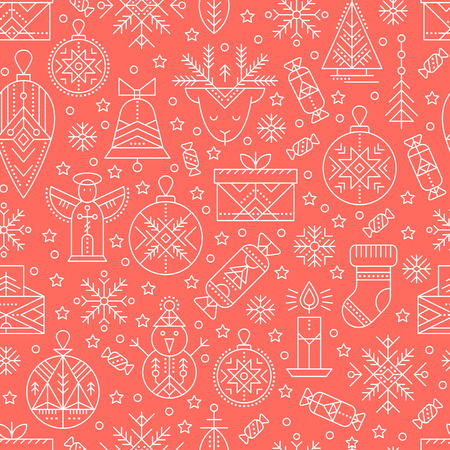 Christmas seamless pattern with outlined holiday and winter signs. White and red color palette. Minimalistic design layout. Creative tribal line style background