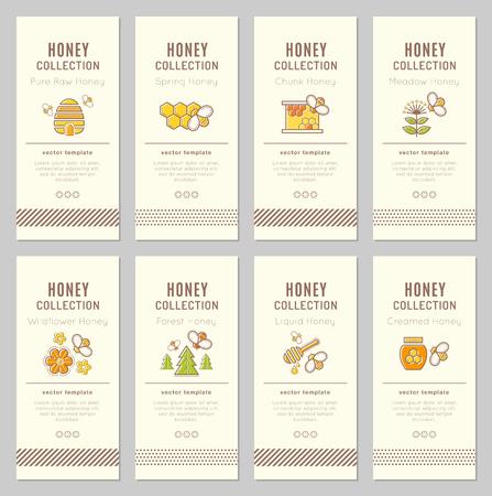 Modelo de la tarjeta del vector con los emblemas de la apicultura. colección de etiquetas de miel natural (tipo de miel - pura cruda, primavera, trozo, prado, flores silvestres, bosques, líquido, crema de miel). paleta de colores cálidos
