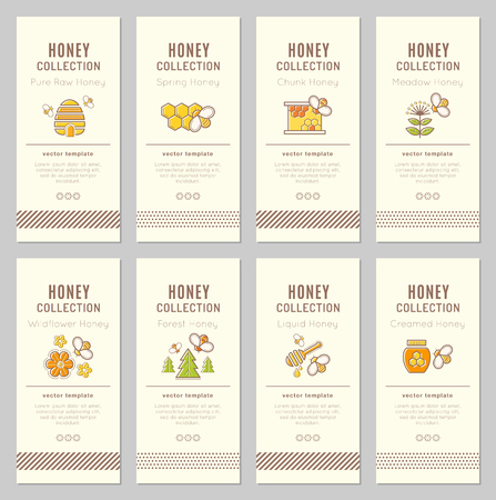 Vector card template with beekeeping emblems. Natural honey tags collection (sorts of honey - pure raw, spring, chunk, meadow, wildflower, forest, liquid, creamed honey). Warm color palette