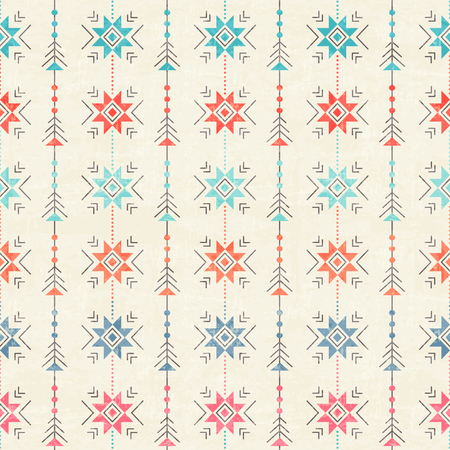 Geometric seamless pattern - ethnic abstract ornament with octagram. Red and blue color palette. Minimalistic tribal background with archaic symbols Illustration