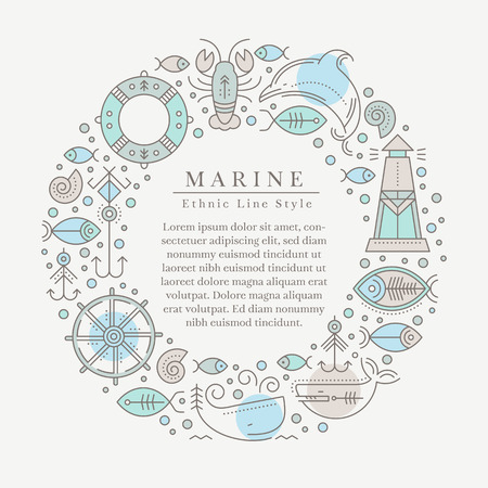 seafaring: Vector illustration with outlined nautical signs and marine animals forming a ring. Pastel blue and brown tints. Minimalistic design layout for business Illustration
