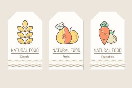 greengrocery: Set of card templates with outlined plant food signs
