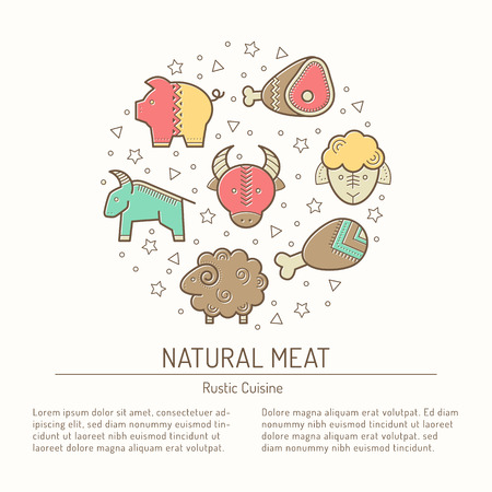 bullock animal: Illustration with outlined protein food signs forming circle Illustration