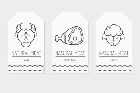 bullock animal: Set of card templates with outlined protein food signs