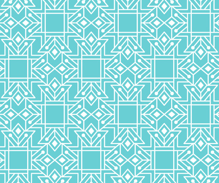 Abstract seamless pattern with outlined geometric ornament. Stock Photo