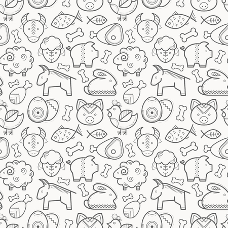 Vector seamless pattern with outlined protein food signs. Farm animal, sorts of meat. Black and white minimalist background. Linear design for business