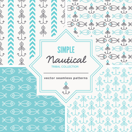 Set of Nautical seamless pattern with outlined and abstract geometric signs. White and red color palette. Minimalistic holiday. Creative tribal line style