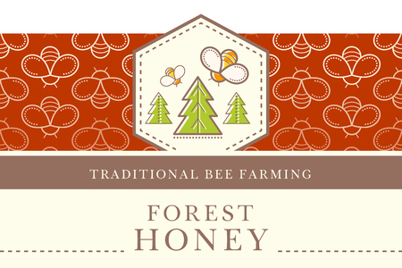 Vector packaging template with seamless patterns. Natural honey collection (sorts of honey - wild forest honey). Warm color palette of golden tints